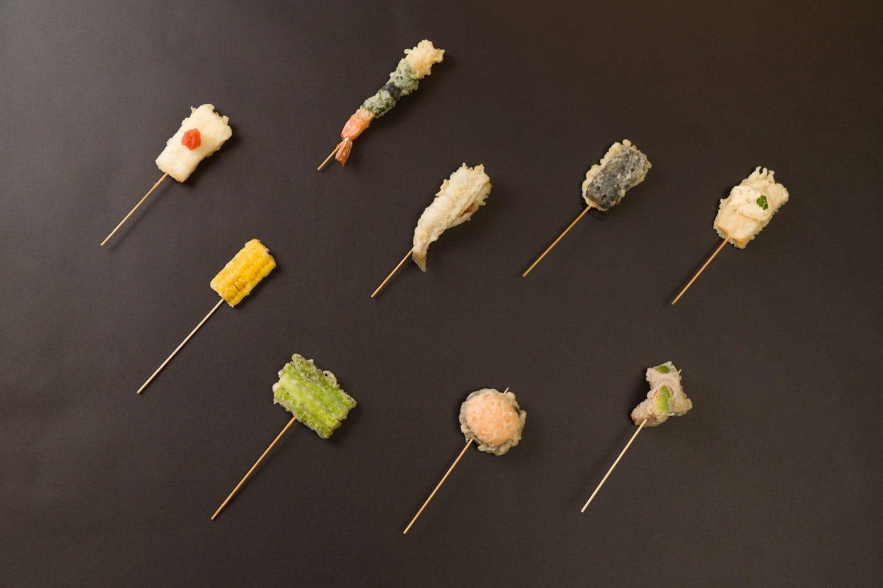 【創作串天ぷら】新鮮な素材にまごころ込めて串打ちしました。