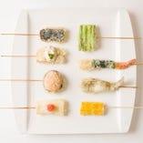 【創作串天ぷら】200円~。意外な美味しさをお楽しみください。