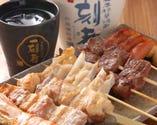 【串焼きの盛り合わせ】 焼酎、日本酒に良くあいます!