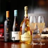 お食事にあわせてワインやシャンパンをご堪能いただけます。