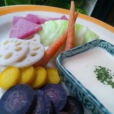 温野菜のブルーチーズソース