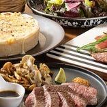 銘柄肉やピザなど、名物が詰まったコースは3,000円~ご用意!