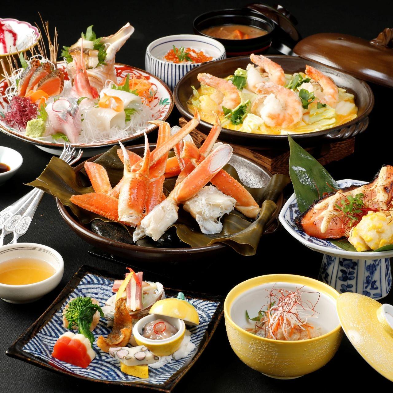 【飲み放題付】本ずわい蟹酒蒸しと海鮮贅沢コース<全8品>歓送迎会、同窓会、ご接待などに!
