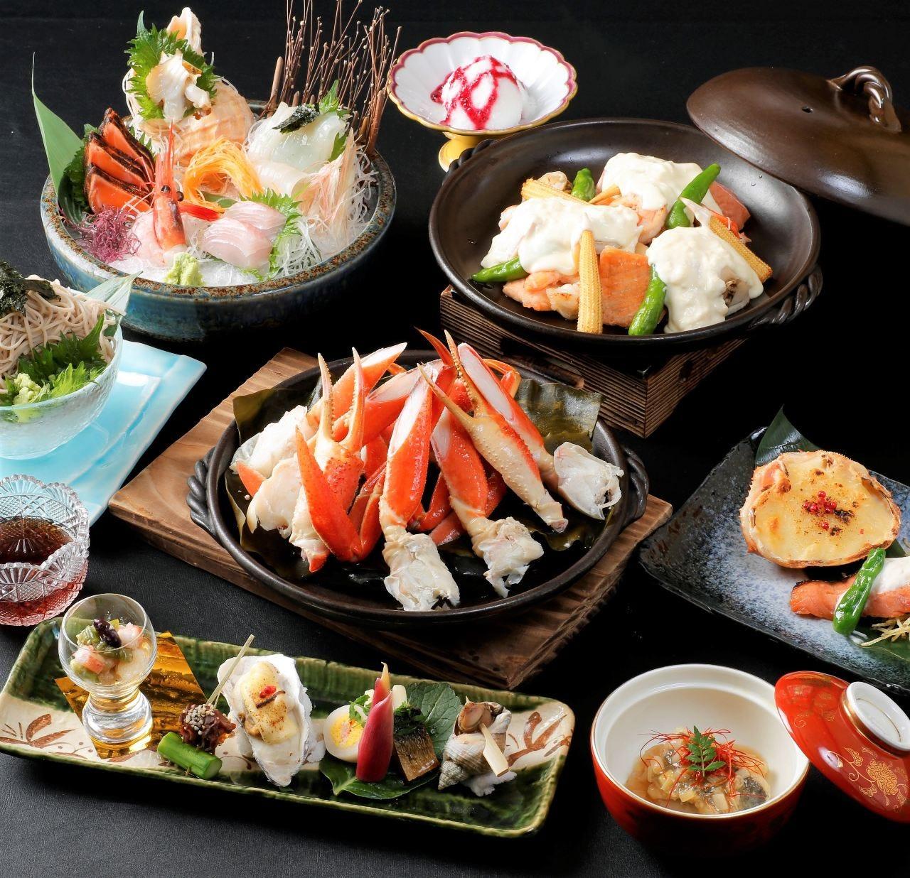 【飲み放題付】本ずわい蟹酒蒸しと海鮮贅沢コース<全8品>暑気払い、同窓会、ご接待などに!