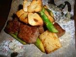 松坂牛と山芋のカットステーキ