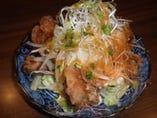 地鶏の唐揚サラダ仕立て