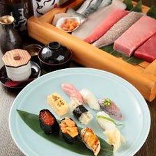 ご接待で人気【雅 会席】本日の刺身のほかお寿司(特上握り5貫+巻物半分)を堪能◎9品 7,560円