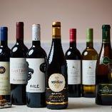 ソムリエが厳選した料理に合う銘醸ワイン約20種取り揃え