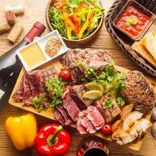 贅沢3種の肉盛りグリル&細切りローストポークのガーリック鉄板ライス全9品3時間飲み放題付4378円