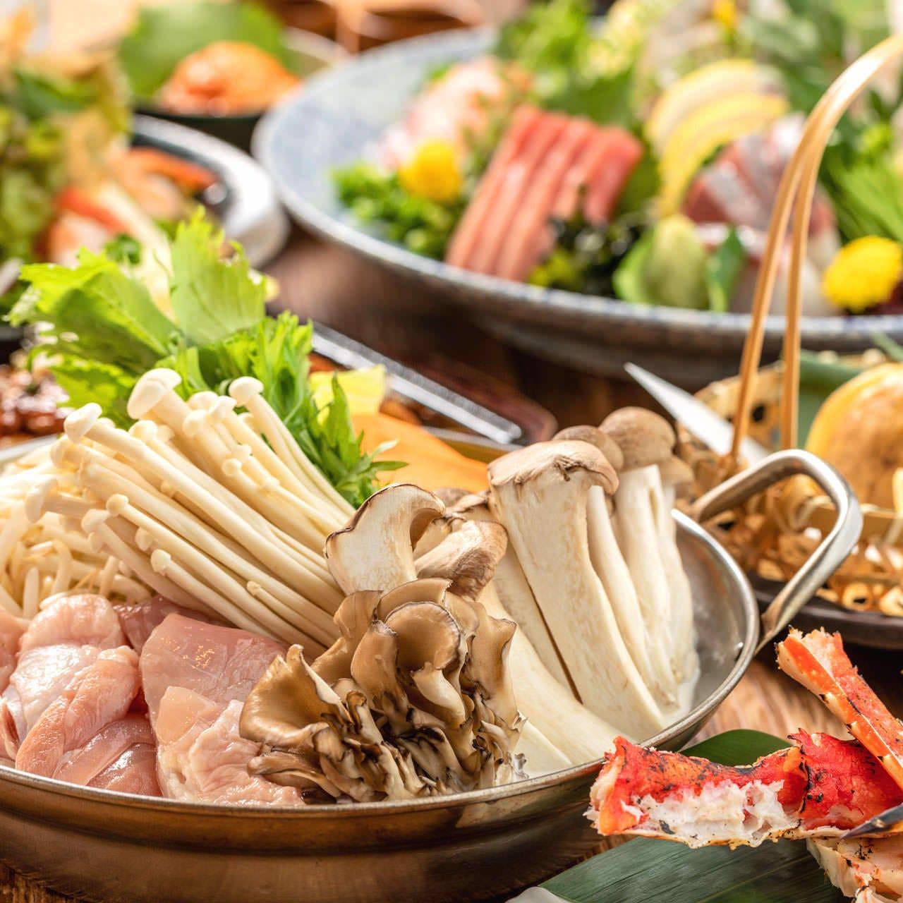 【柊コース】 メインは選べる鍋。厳選お造り盛り合わせ等! 3時間飲み放題付 全9品 4500円 宴会 歓送迎会