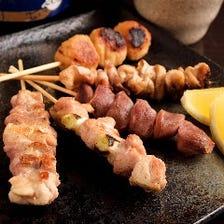 錦爽鶏の串焼き盛り合わせ