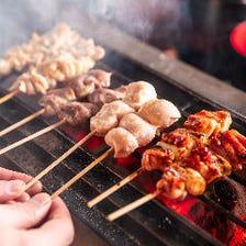 焼き鳥...銘柄鶏を職人が炭火で焼く