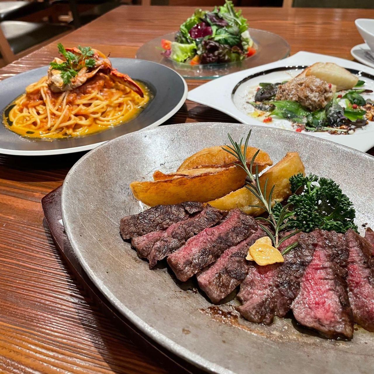 【Joeの新定番】 お食事にもお祝にもおすすめ♪ 国産牛ヒレステーキ&渡り蟹ディナーコース