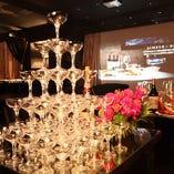 大人数様の乾杯に、シャンパンタワーもご用意しております。