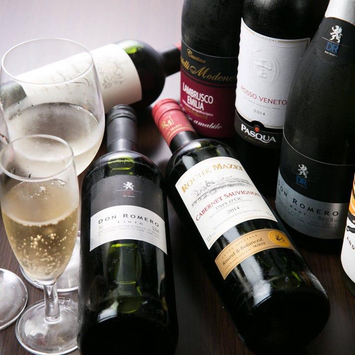 焼肉に合うボトルワインも2,000円(税抜)からご用意!
