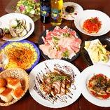 季節の前菜やパスタを味わえるコース4,180円(税込)〜