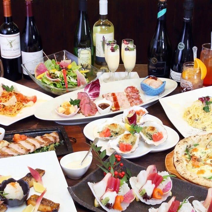 ちょっと贅沢に宴会!【真鯛と国産和牛の贅沢イタリアンコース】 ※料理のみ