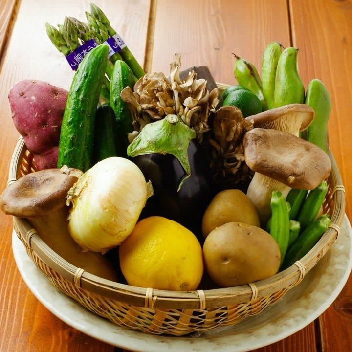 産直の旬の野菜!素材の味を大切に炭焼きで!