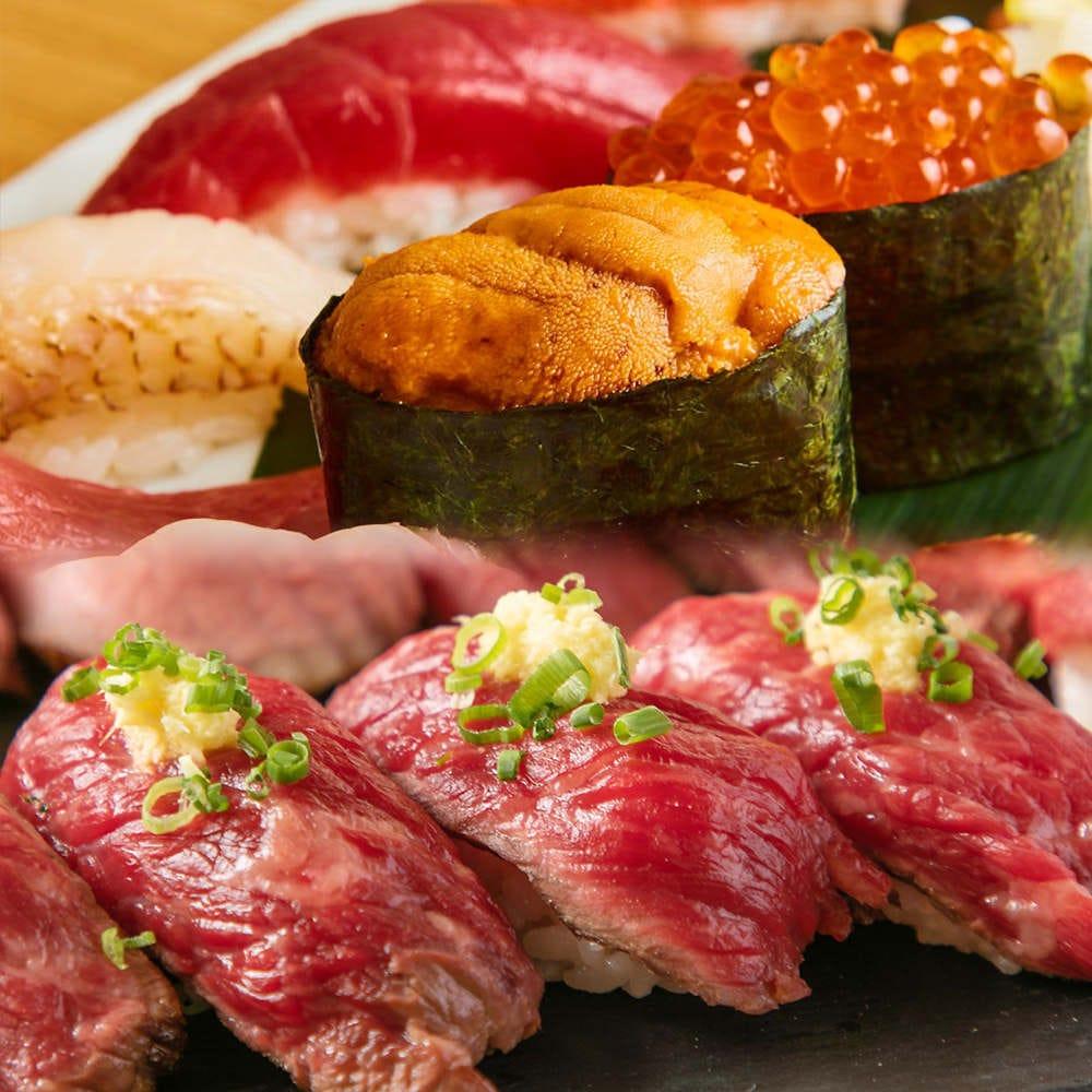 【2時間寿司&肉寿司食べ飲み放題4,400円】炙大トロ・うに・イクラ!肉寿司など!