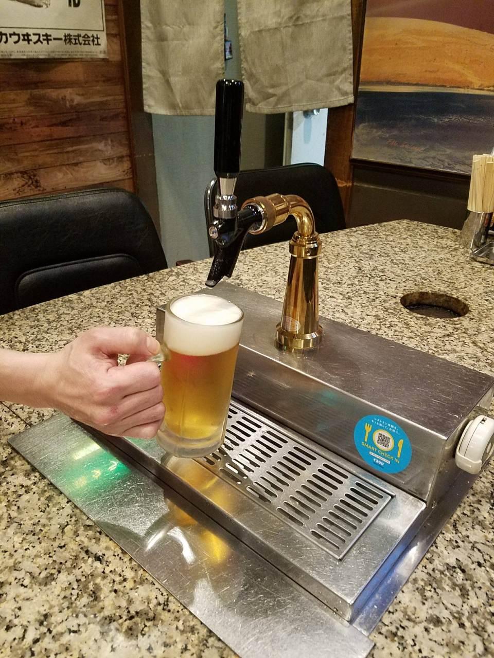 自分で注げるビールサーバー1cc→1円