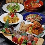 名物の唐揚げはじめ、多彩な鶏料理と旬の味覚を盛り込んだ宴会コース!