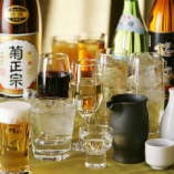 コース料理に日本酒など2H飲み放題を1,650円で追加できます