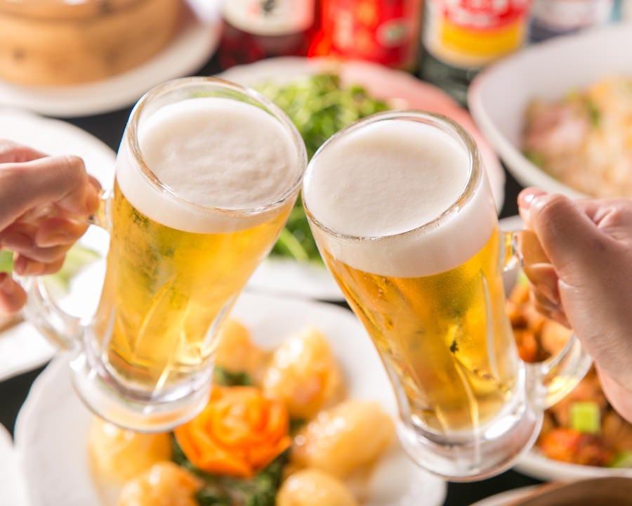 食べ飲み放題ドリンクは紹興酒やビール、中国茶など全28種ご用意