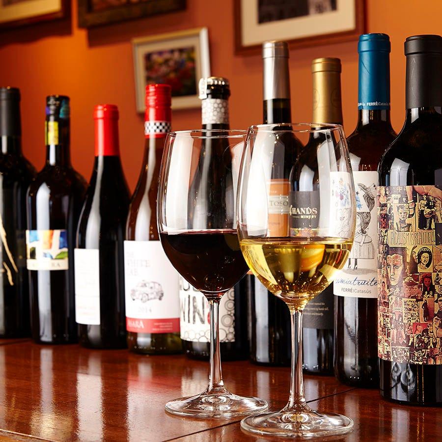 種類豊富なワインと自家製サングリア
