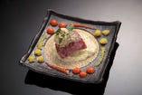 「冬の料理」 真鱈白子と氷見牛のステーキ