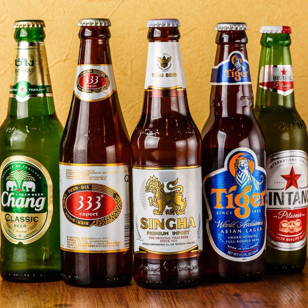 アジア各国のビールは6種類をご用意!
