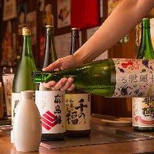 料理のお供は6種常備、広島の地酒