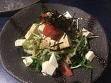 自家製島豆腐とクリームチーズのサラダ