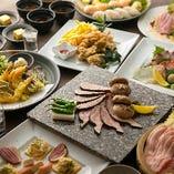 天ぷらや造り盛り、本格寿司など全9品『極コース』