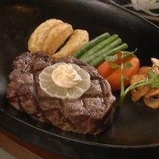 高級松阪肉をヘレ120gまたはロース160gから選んで味わう『松阪肉ステーキコース1』