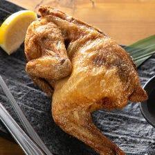 【2H飲み放題/当店人気No.1】名物鶏丸揚げが含まれる!会社宴会に最適な『鶏ざんまいコース』<全8品>