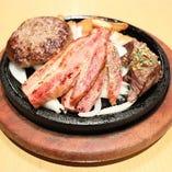 【石焼】トリオ カットステーキ・厚切りベーコン