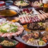 当店自慢の朝引き鶏のやきとりや鍋まで楽しめるコースをご用意
