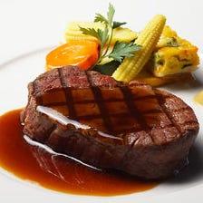 【気軽にフレンチ】カジュアルな『Bonheur ボヌールコース』牛フィレ肉グリル・鮮魚のポワレ