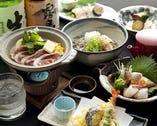 旬魚旬菜と鴨料理、〆はお蕎麦 貴船コース 御一人様 3,500円