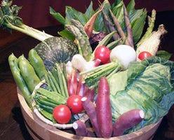 素材は旬の地物野菜と 産直を使用。