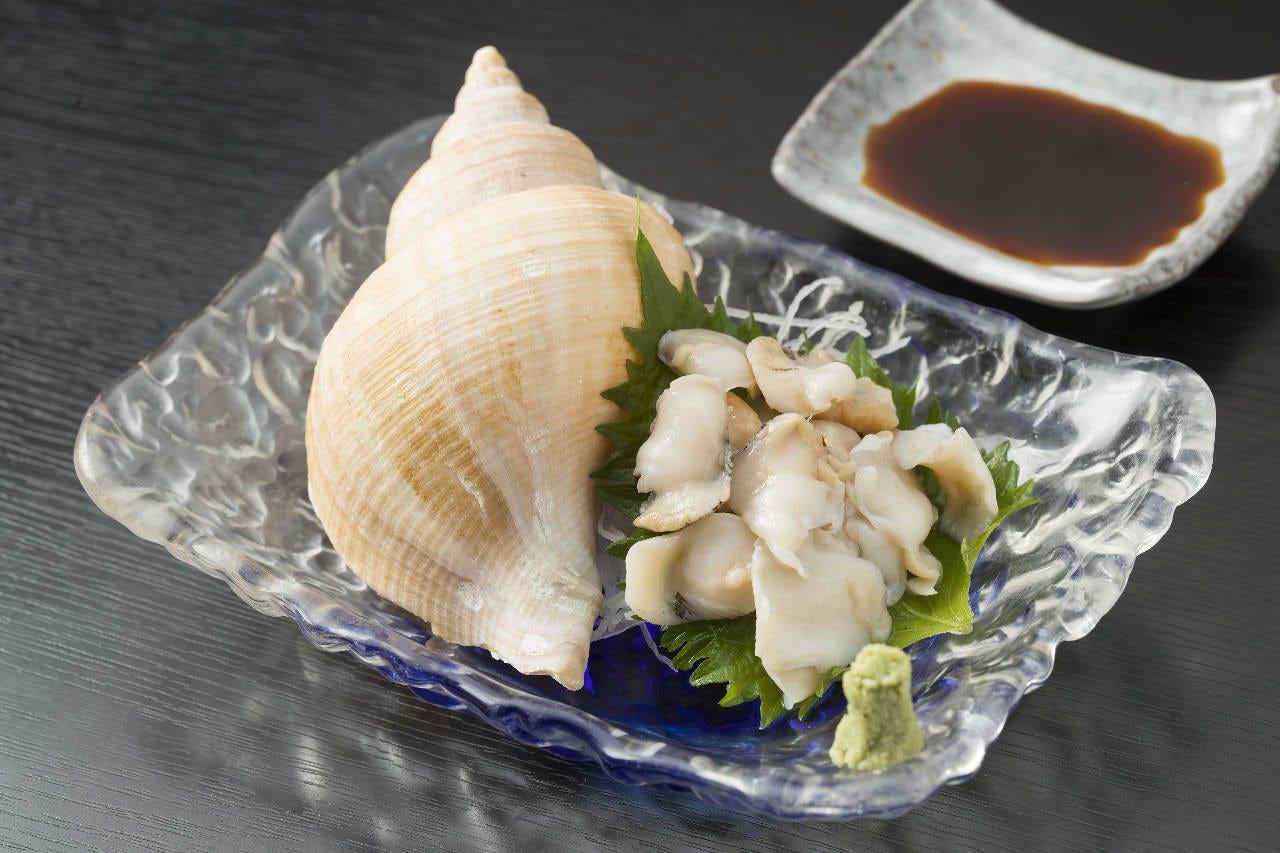 酒肴に魚津産バイ貝の刺身