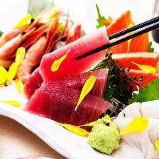 市場直送の鮮魚刺身五点盛り合わせ『御形-GOGYOU-コース』2時間飲み放題+全6品 3500円⇒2700円