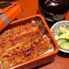 旬のお刺身と鰻の白焼き、〆は上うな重コース