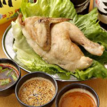 丸鶏の蒸し鶏