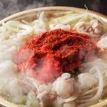 もつの旨味と野菜の旨味がたっぷりのゴクウマ明太子もつ鍋