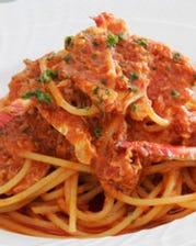 ワタリガニのトマトソース スパゲッティーニ