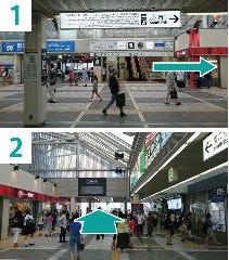 1-新百合ヶ丘駅改札を出たら、南口へ  2-黒いモニターの下を抜けます