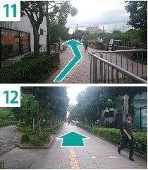 11-遊歩道を道なりに進みます  12-そのまま直進してください