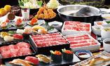 【黒毛牛・牛たんしゃぶ・上寿司+季節の逸品 食べ放題コース】