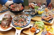 「厳選魚介類と地場野菜のコース」4,500円 2時間飲み放題付き(15分前L.O)